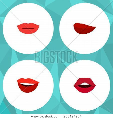 Flat Icon Mouth Set Of Kiss, Lipstick, Teeth And Other Vector Objects
