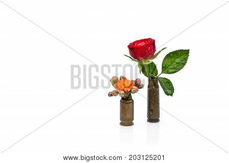 Red rose and orange watercolor flower into a riffle bullets symbolizing flower power against isolated on white