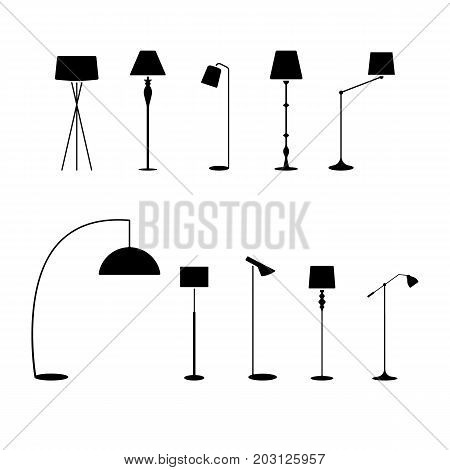 Standing lampshade icon set. Vector illustration of fashion collection electric floor lamp pictogram on white