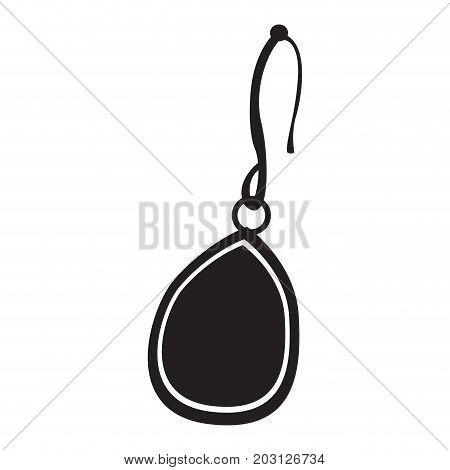 Isolated silhouette of a singular earring, Vector illustration