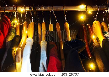 men's women's hipster wardrobe with light bulbs