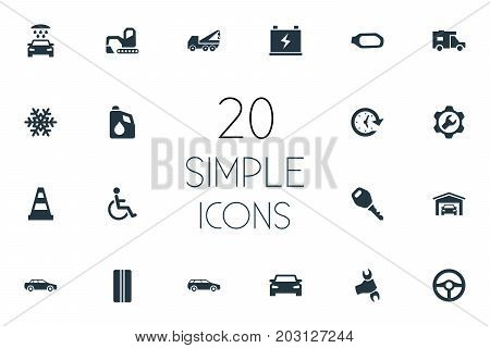Elements Fuel, Handicapped, Accumulator Synonyms Antifreeze, Building And Van.  Vector Illustration Set Of Simple Vehicle Icons.