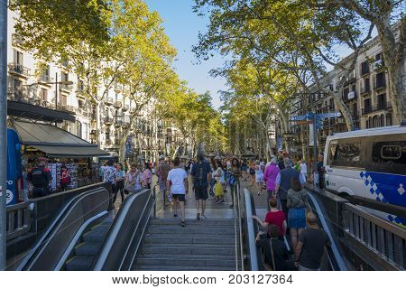 Barcelona, Spain. September 05, 2017:Crowd of anonymous people walking on the Rambla of Barcelona. This is the place where occurred the infamous terrorist attacs in Barcelona on August 17, 2017.