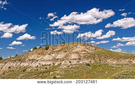 Puffy Clouds Over the Badlands in Theodore Roosevelt National Park in North Dakota