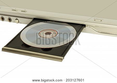 DVD player with open disk tray taken closeup on white background.
