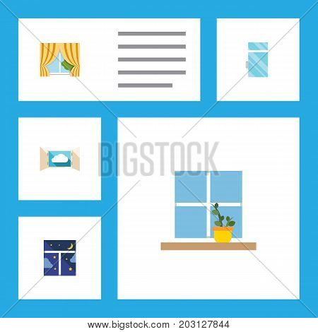 Flat Icon Window Set Of Glass Frame, Cloud, Flowerpot And Other Vector Objects