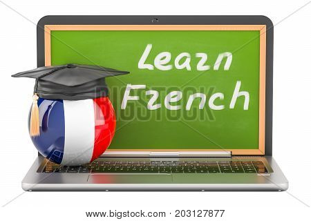 Learn French concept with laptop blackboard and graduation cap 3D rendering