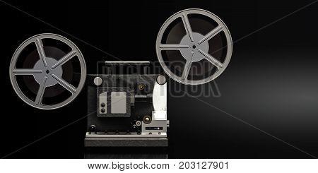 cinema film projector in working 3D rendering