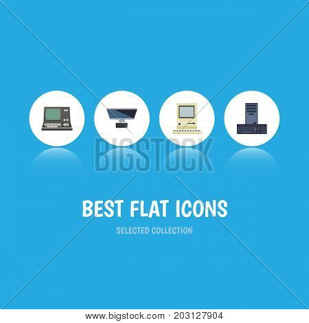 Flat Icon Laptop Set Of Technology, PC, Processor And Other Vector Objects
