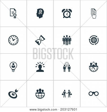 Elements Sand Watch  , Watch , Brainstorming Synonyms Think, Sand And Planet.  Vector Illustration Set Of Simple Business Icons.