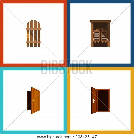Flat Icon Door Set Of Saloon, Approach, Wooden Fence And Other Vector Objects