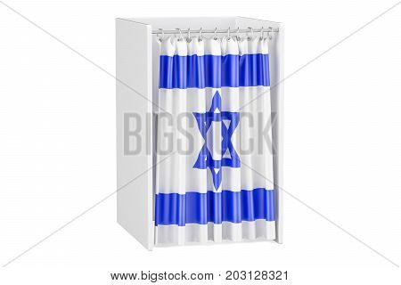 Vote in Israel concept voting booth with Israeli flag 3D rendering isolated on white background