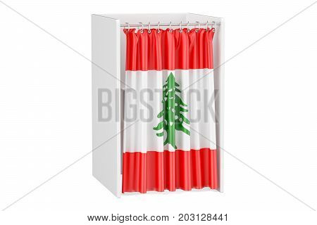 Vote in Lebanon concept voting booth with Lebanese flag 3D rendering isolated on white background