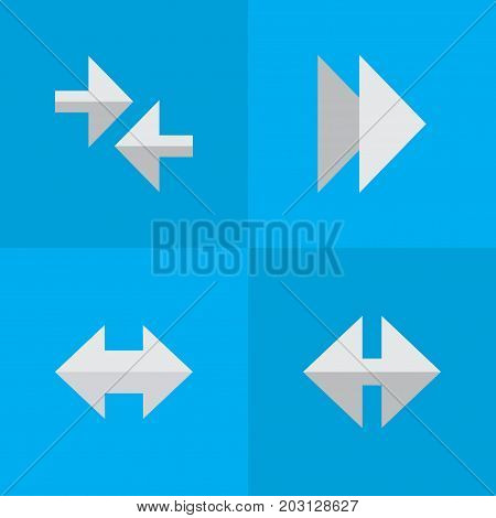 Elements Indicator, Forward, Export And Other Synonyms Forward, Alert And Arrow.  Vector Illustration Set Of Simple Indicator Icons.