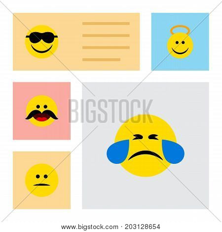 Flat Icon Expression Set Of Displeased, Angel, Cold Sweat And Other Vector Objects