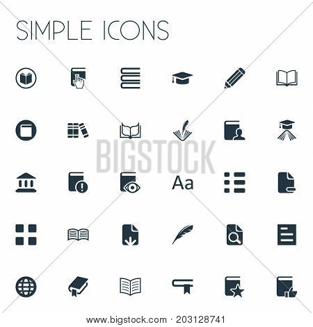 Elements Favored Book, Plume, Construction And Other Synonyms Row, Writing And Plume.  Vector Illustration Set Of Simple Education Icons.