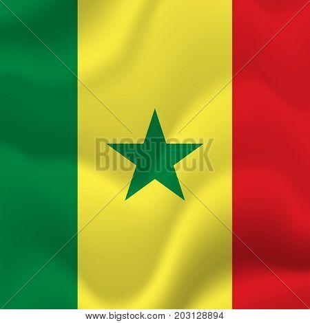 Senegal waving flag. Waving flag. Vector illustration.