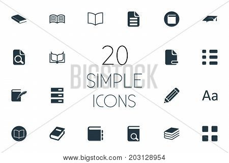 Elements Notepad, Academic Cap, Hanging Tag And Other Synonyms Department, Magnification And Checkbox.  Vector Illustration Set Of Simple Education Icons.