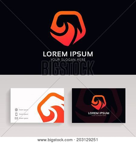 Clean Flame Icon Shield Sign Fire Guard Logo Vector Design.
