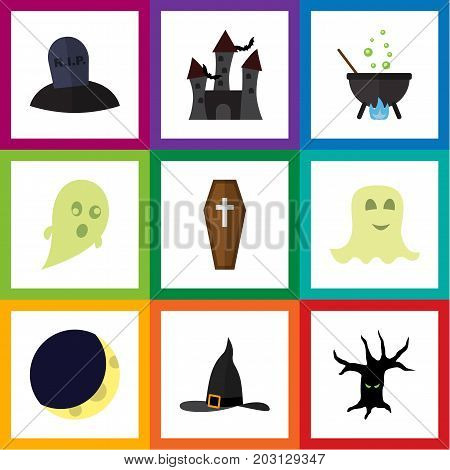 Flat Icon Halloween Set Of Tomb, Phantom, Terrible Halloween And Other Vector Objects