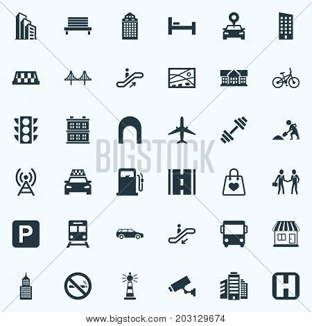 Elements Kiosk, Staircase, Autobus And Other Synonyms Taxicab, Rope And Connection.  Vector Illustration Set Of Simple Infrastructure Icons.