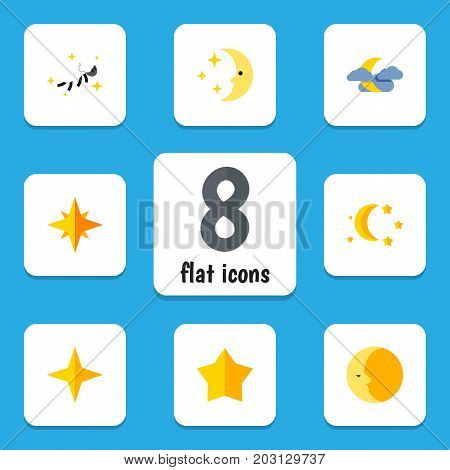 Flat Icon Midnight Set Of Bedtime, Star, Midnight And Other Vector Objects