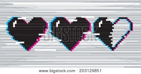 Vector pixel art 8 bit style hearts for game. Black stylized illustration with concept of spendable lives game mode. Two full hearts and one in half with glitch VHS effect.
