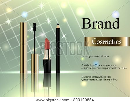Design of cosmetics, a set of gold mascara with a brush, a pink lipstick, an eyeliner on a light background with bright rays and stars. Advertisement, banner, 3d vector realistic