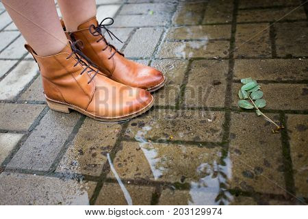 Girls Boots At The Puddle