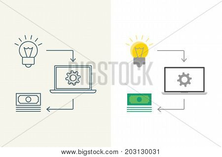 Convert idea into money linear and flat illustration