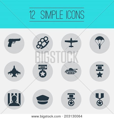 Elements Prize, Award, Tank And Other Synonyms Cap, Hat And Military.  Vector Illustration Set Of Simple War Icons.