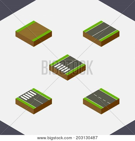 Isometric Road Set Of Single-Lane, Plane, Footpath And Other Vector Objects