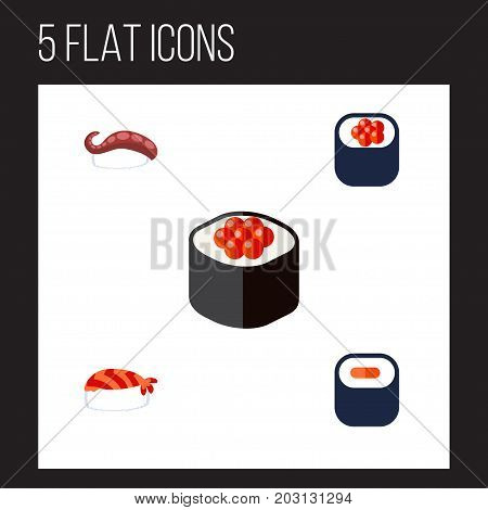 Flat Icon Sashimi Set Of Maki, Japanese Food, Sashimi And Other Vector Objects