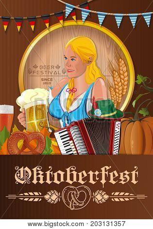 Poster for Oktoberfest. Beer festival design. German blonde cute girl waitress in traditional clothes holding beer mugs. Vector illustration