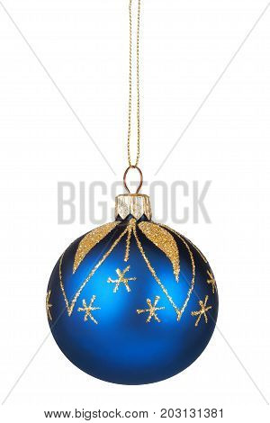 Blue Christmas bauble isolated on white background