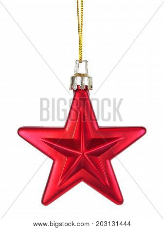 Red Christmas bauble hanging on white background