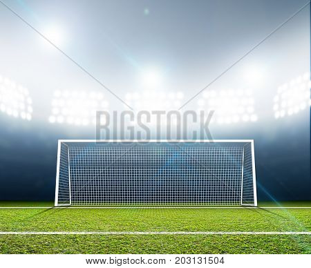 Sports Stadium And Soccer Goals