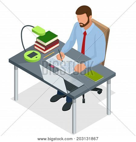 Isometric young people and student concept. A mem of 26-35 years old the student sits at the table and writes. Homework or Lesson. Isolated on white background.