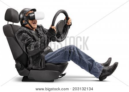 Elderly biker sitting in a car seat and using a VR headset isolated on white background