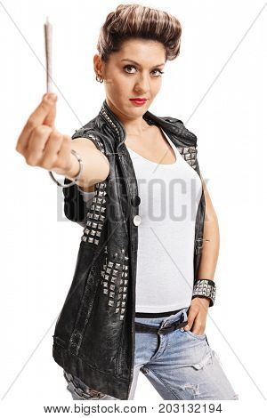 Punk girl offering a joint isolated on white background