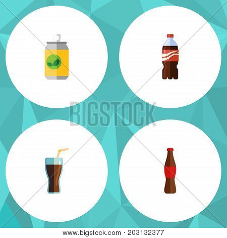 Flat Icon Beverage Set Of Bottle, Beverage, Juice And Other Vector Objects