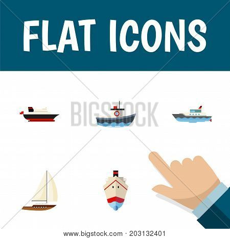 Flat Icon Vessel Set Of Yacht, Sailboat, Cargo And Other Vector Objects