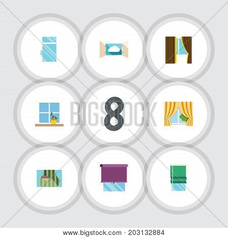 Flat Icon Window Set Of Glass Frame, Clean, Balcony And Other Vector Objects