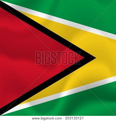 Guyana waving flag. Waving flag. Vector illustration.