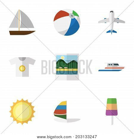 Flat Icon Beach Set Of Clothes, Surfing, Sundae And Other Vector Objects