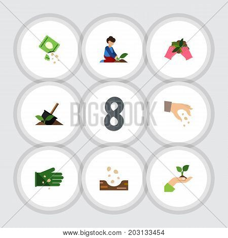Flat Icon Plant Set Of Glove, Florist, Sow And Other Vector Objects