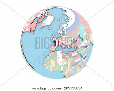 France On Globe Isolated