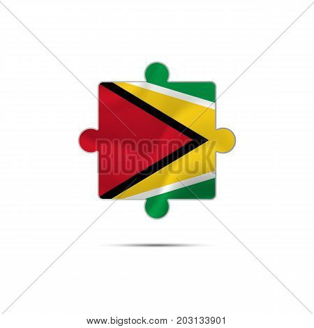 Isolated piece of puzzle with the Guyana flag. Vector illustration.