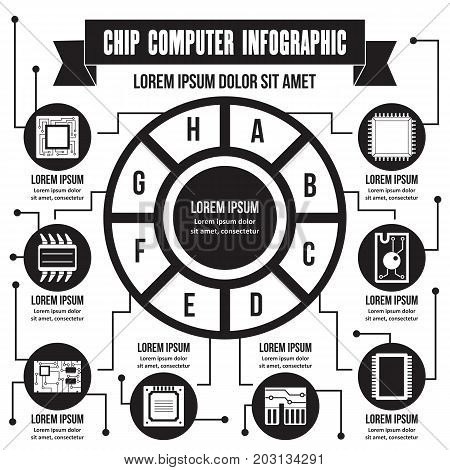 Chip computer infographic banner concept. Simple illustration of chip computer infographic vector poster concept for web