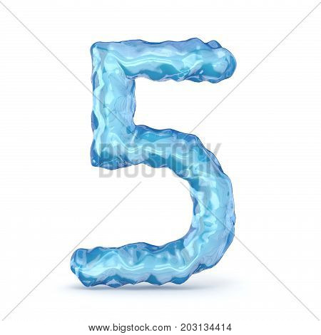 Ice Font Number 5 Five 3D